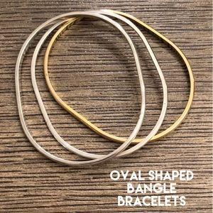 Oval Shaped Bangle Bracelet 2-Silvertone 1Goldtone